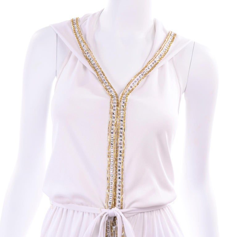 1970s Vintage White Hooded Maxi Dress With Gold Beads & Rhinestones For Sale 13