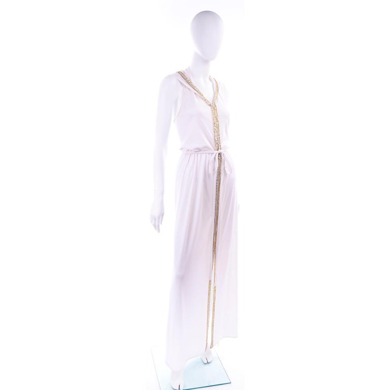 Gray 1970s Vintage White Hooded Maxi Dress With Gold Beads & Rhinestones For Sale