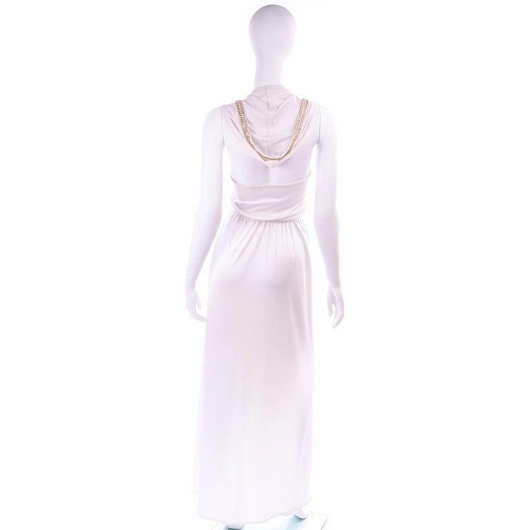 Women's 1970s Vintage White Hooded Maxi Dress With Gold Beads & Rhinestones For Sale