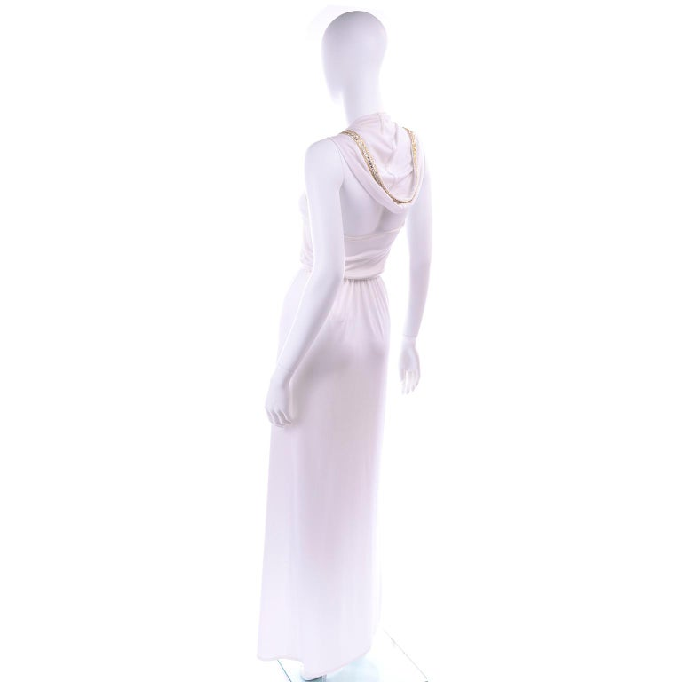1970s Vintage White Hooded Maxi Dress With Gold Beads & Rhinestones For Sale 1