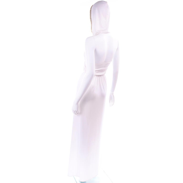 1970s Vintage White Hooded Maxi Dress With Gold Beads & Rhinestones For Sale 2