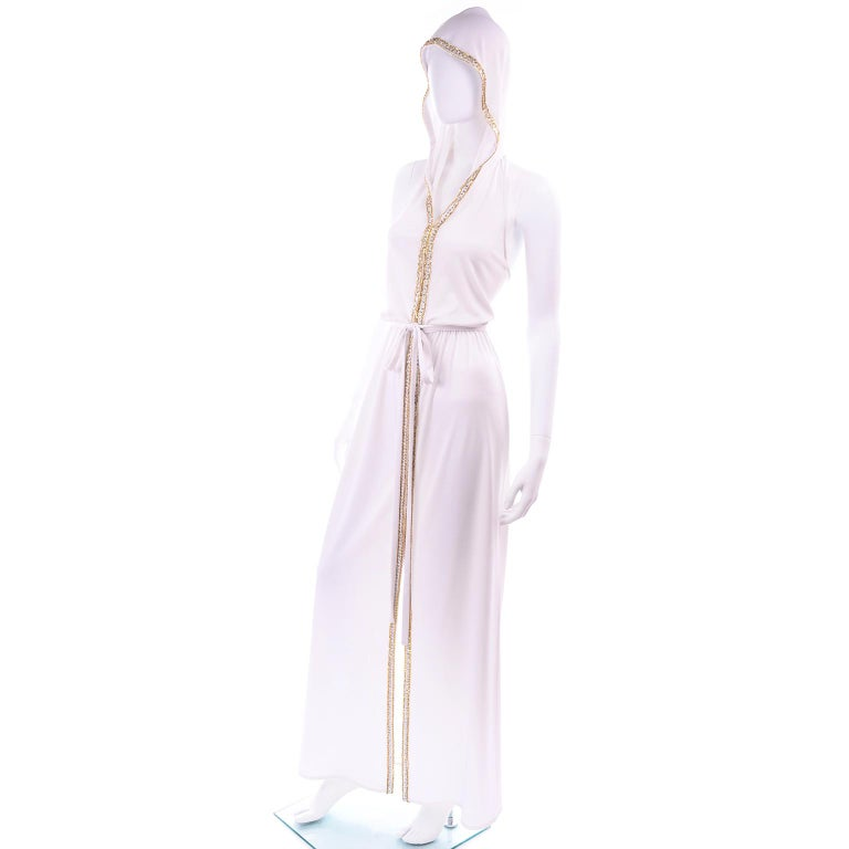 1970s Vintage White Hooded Maxi Dress With Gold Beads & Rhinestones For Sale 3