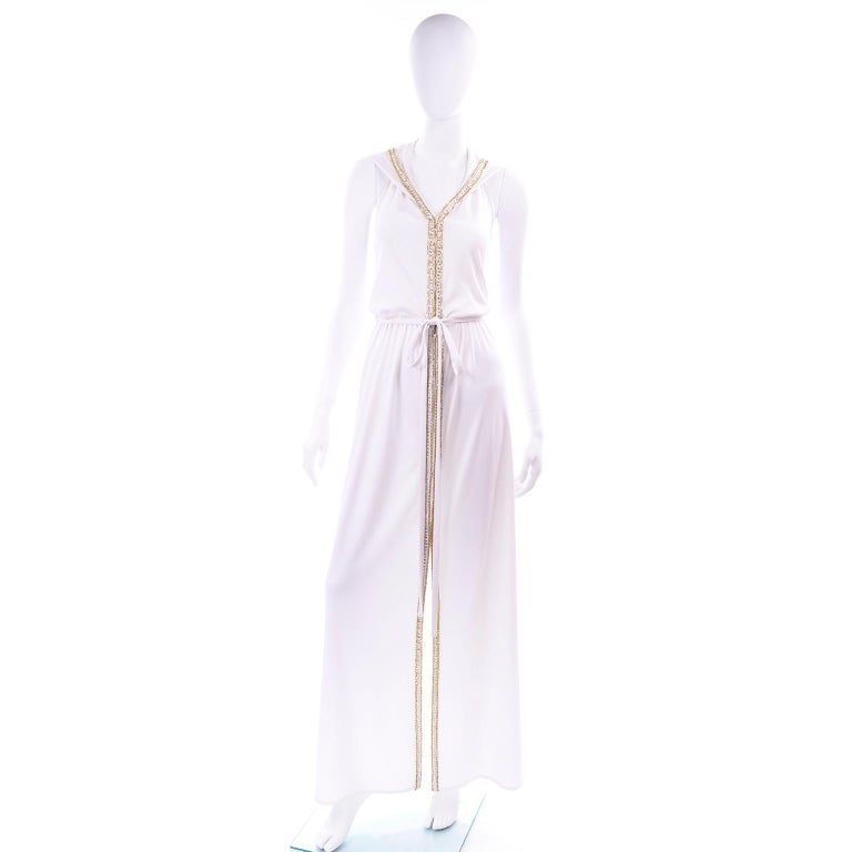 1970s Vintage White Hooded Maxi Dress With Gold Beads & Rhinestones For Sale 4