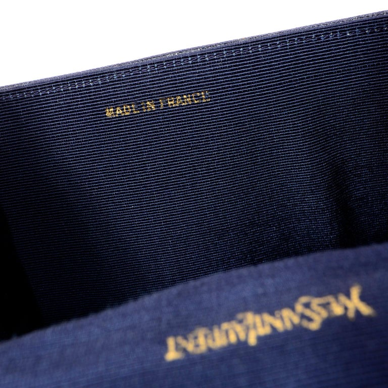 1970s Vintage Yves Saint Laurent Navy Blue Leather YSL Shoulder Bag  For Sale 5