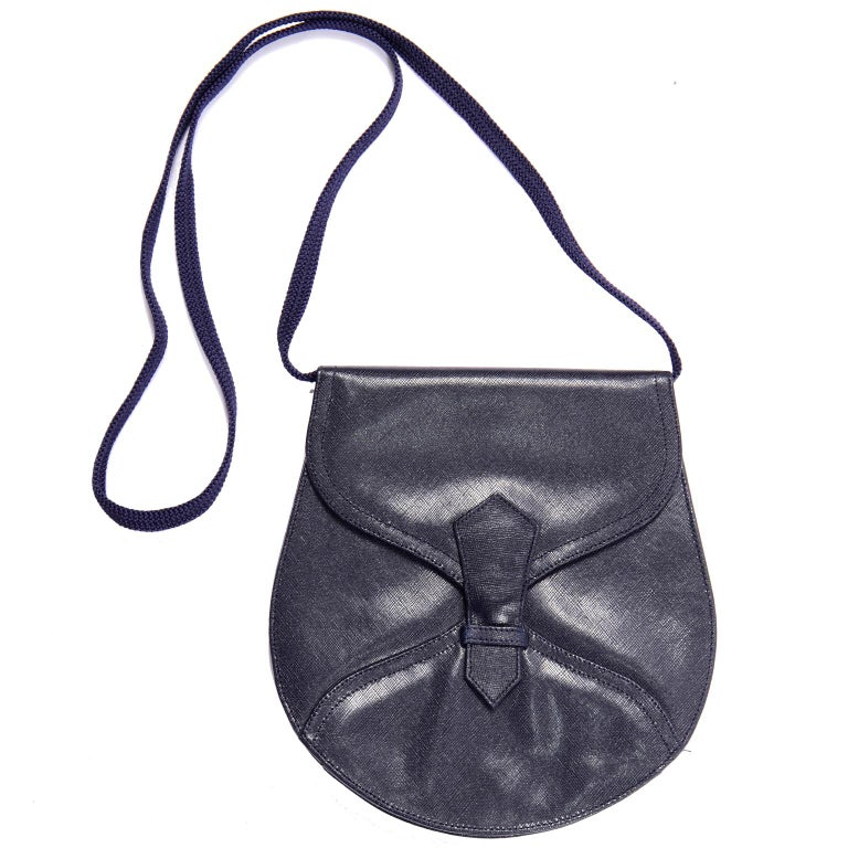 1970s Vintage Yves Saint Laurent Navy Blue Leather YSL Shoulder Bag  In Excellent Condition For Sale In Portland, OR