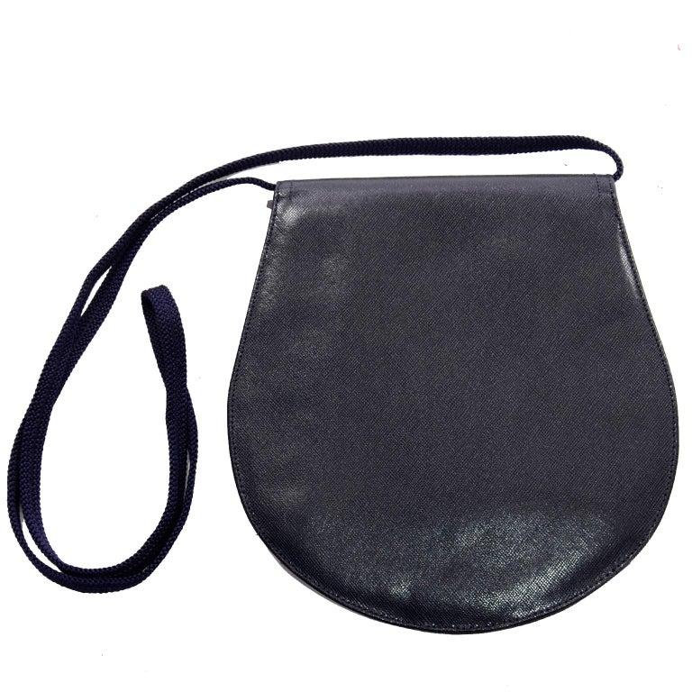 1970s Vintage Yves Saint Laurent Navy Blue Leather YSL Shoulder Bag  For Sale 1