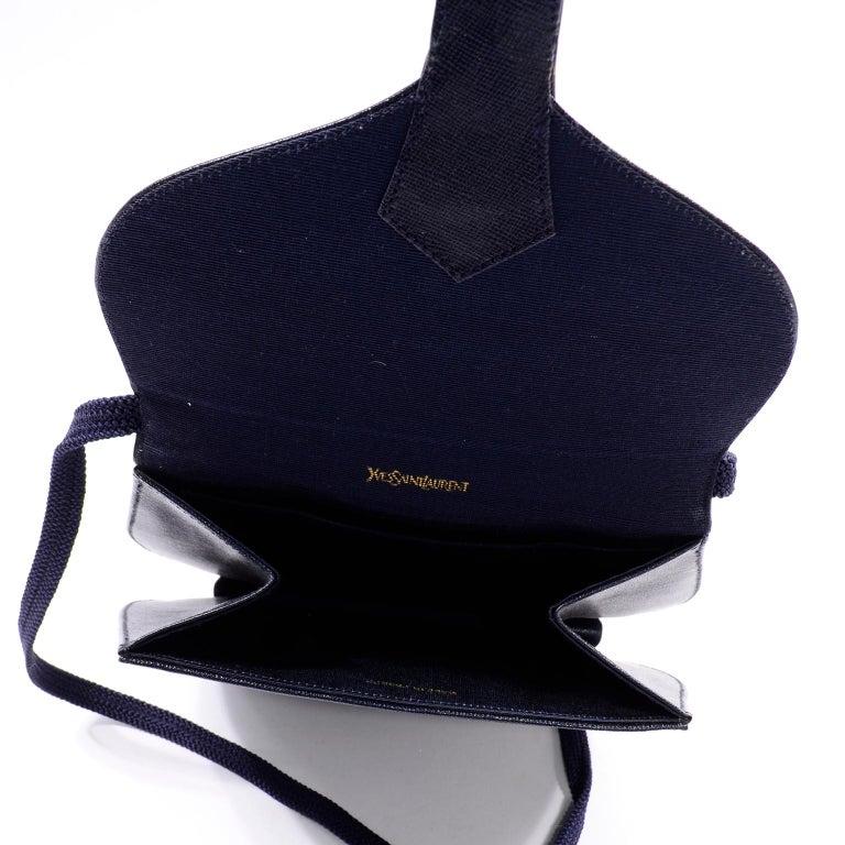 1970s Vintage Yves Saint Laurent Navy Blue Leather YSL Shoulder Bag  For Sale 4