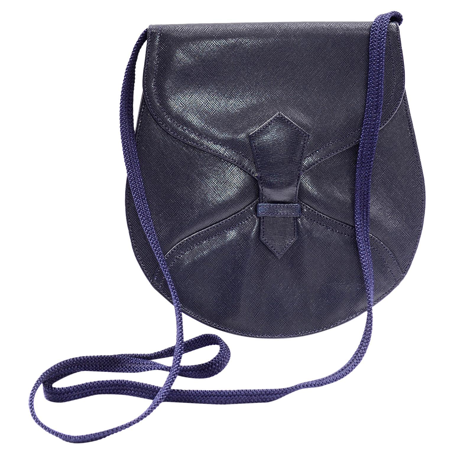 1970s Vintage Yves Saint Laurent Navy Blue Leather YSL Shoulder Bag