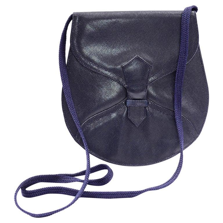 1970s Vintage Yves Saint Laurent Navy Blue Leather YSL Shoulder Bag  For Sale