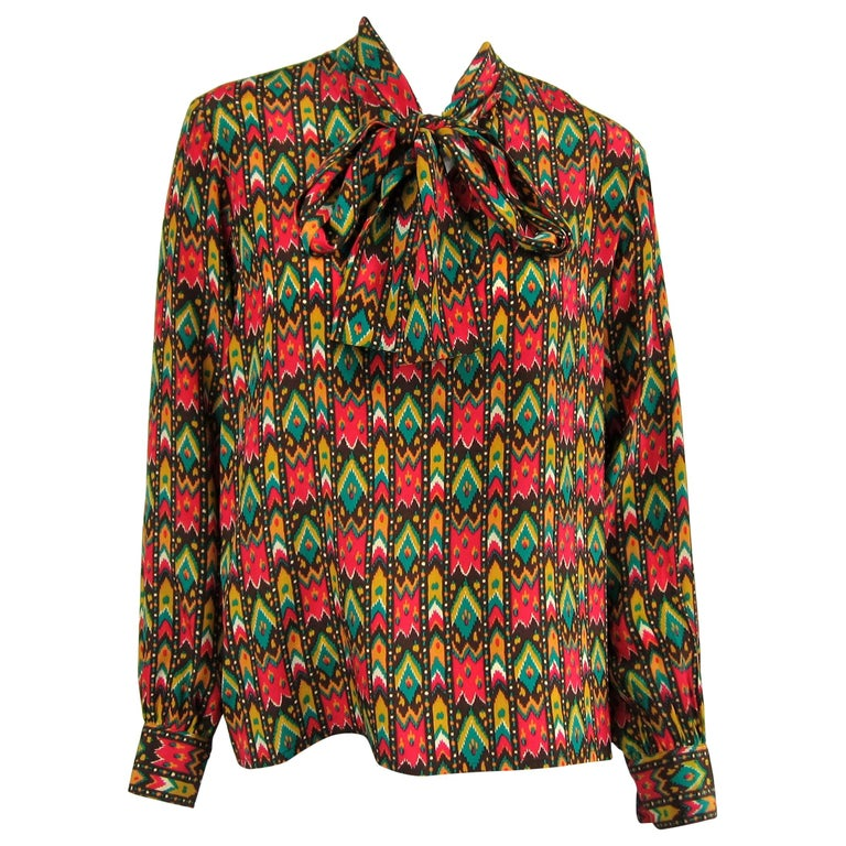 1970s Vintage Yves Saint Laurent Silk  Blouse Collection 1976 YSL  For Sale