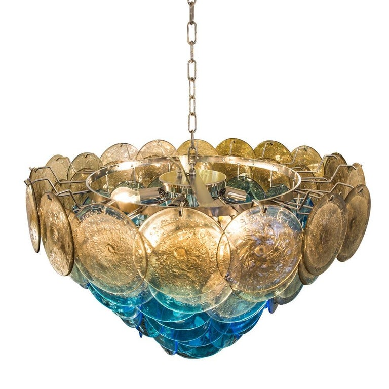 1970s Vistosi Disc Ceiling Light Blue and Smoke Blown Glass Components Murano For Sale 3
