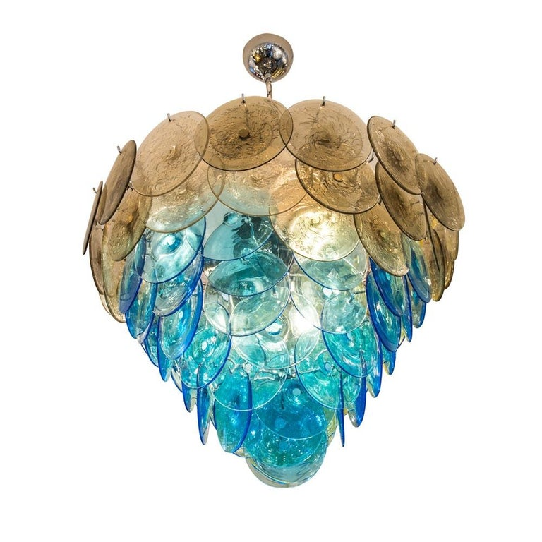 1970s Vistosi Disc Ceiling Light Blue and Smoke Blown Glass Components Murano For Sale 4