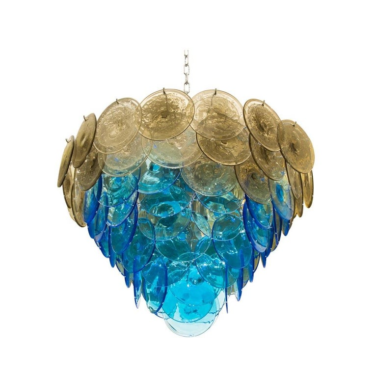 Mid-Century Modern 1970s Vistosi Disc Ceiling Light Blue and Smoke Blown Glass Components Murano For Sale