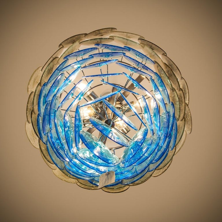 Italian 1970s Vistosi Disc Ceiling Light Blue and Smoke Blown Glass Components Murano For Sale
