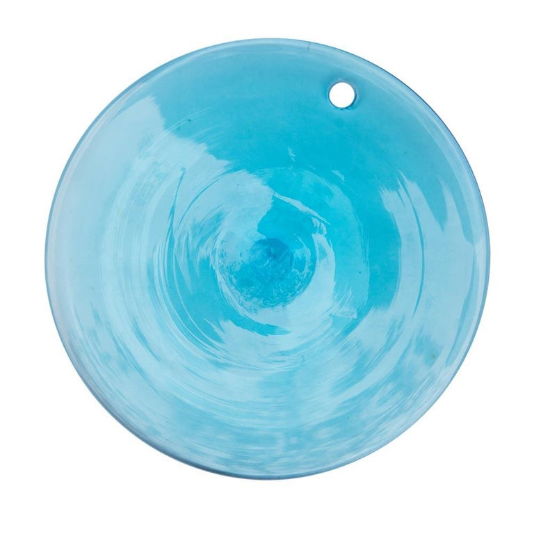 Metal 1970s Vistosi Disc Ceiling Light Blue and Smoke Blown Glass Components Murano For Sale