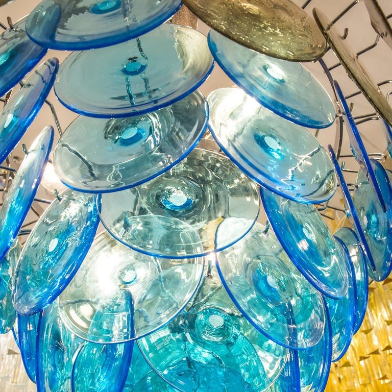 1970s Vistosi Disc Ceiling Light Blue and Smoke Blown Glass Components Murano For Sale 2