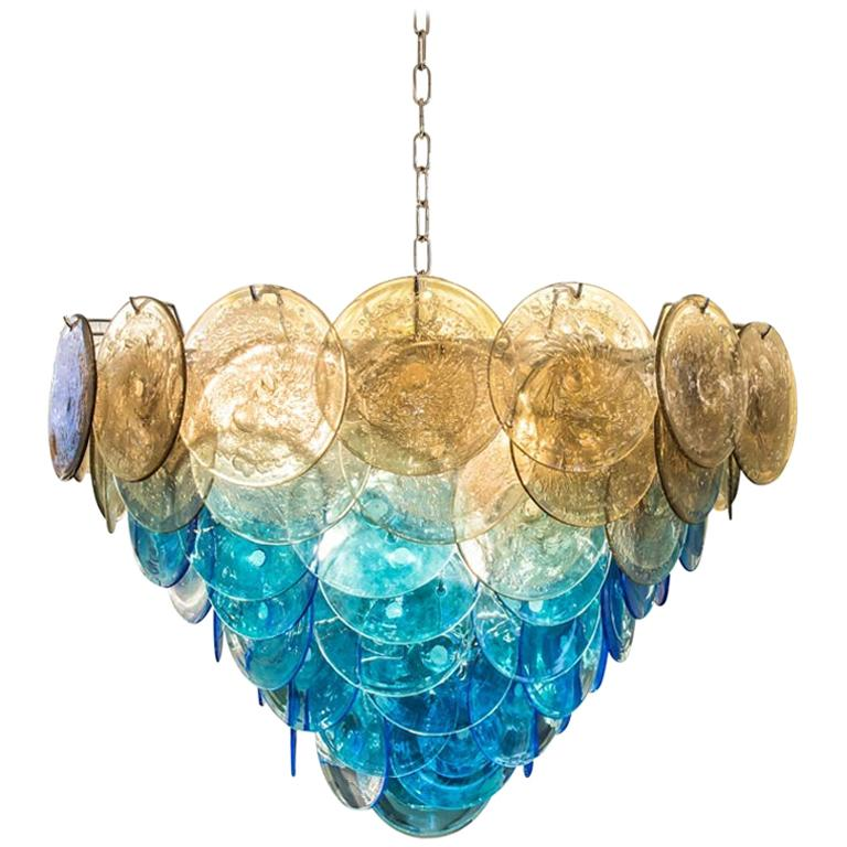 1970s Vistosi Disc Ceiling Light Blue and Smoke Blown Glass Components Murano