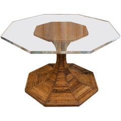 1970s Vivai del Sud Bamboo Center/Dining Table in the Style of Gabriella Crespi
