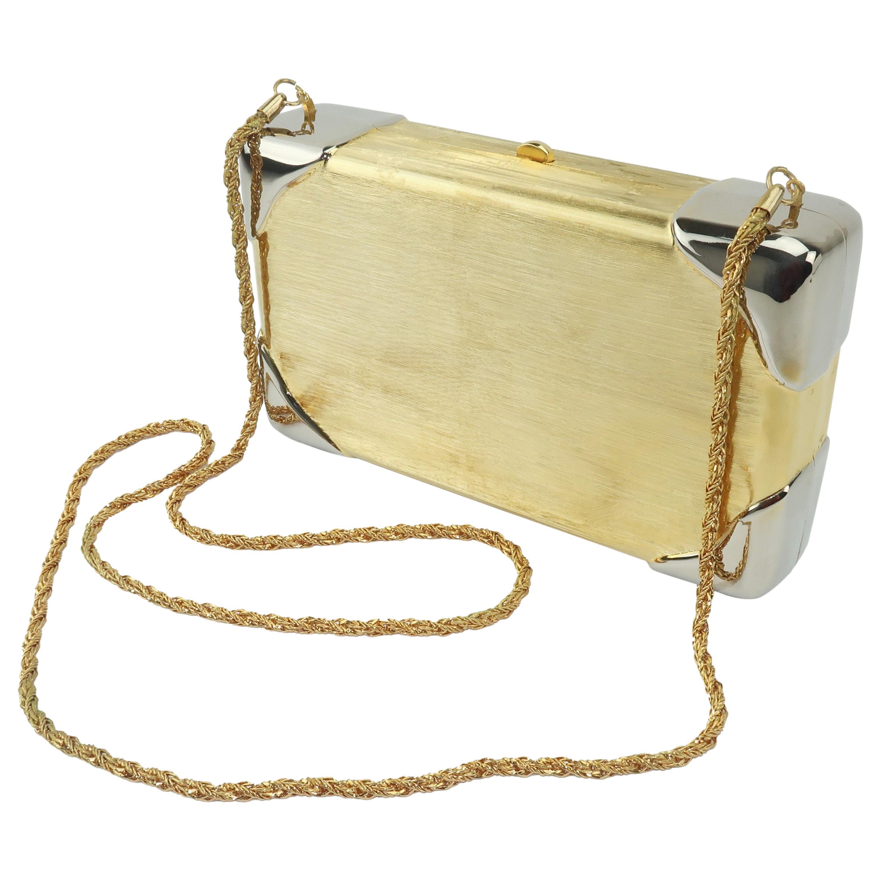 1970's Walborg Brushed Gold & Silver Box Handbag Clutch