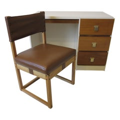1970s Desk / Chair Walnut and Cream Lacquer Finished Mid Century Styled
