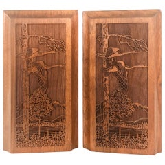 1970s Walnut Wood Pheasant Bookends, Pair