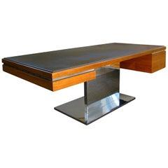 1970s Warren Platner Modernist Executive Desk in Leather, Teak and Steel, USA