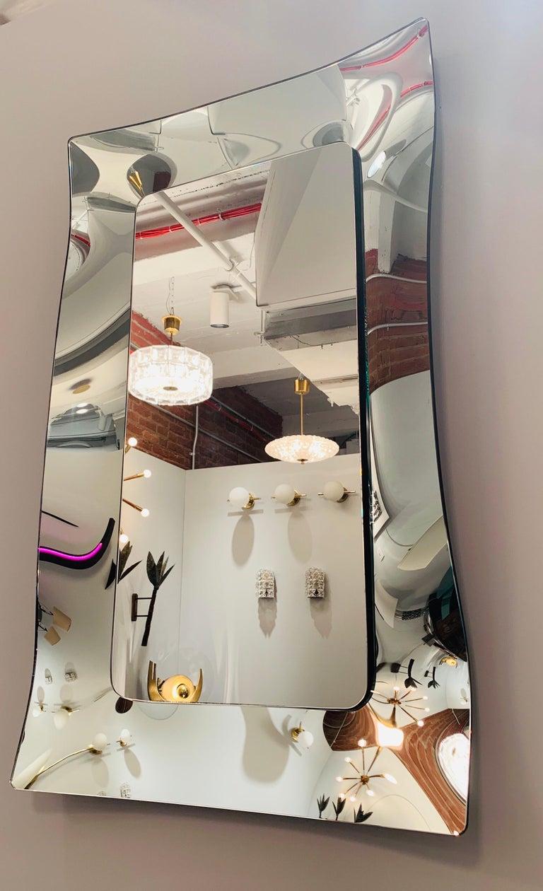 Mid-Century Modern 1970s Wavy Murano Glass Mirror For Sale