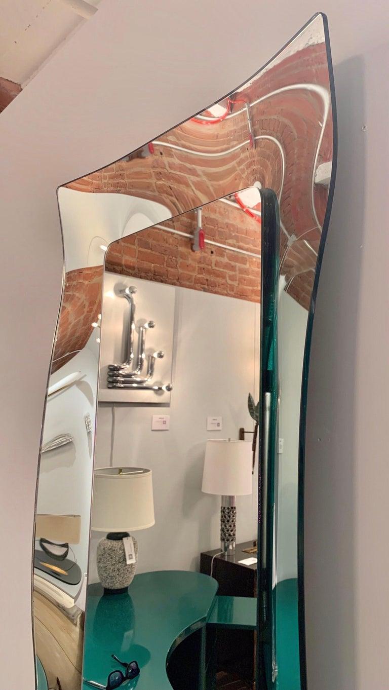 Italian 1970s Wavy Murano Glass Mirror For Sale