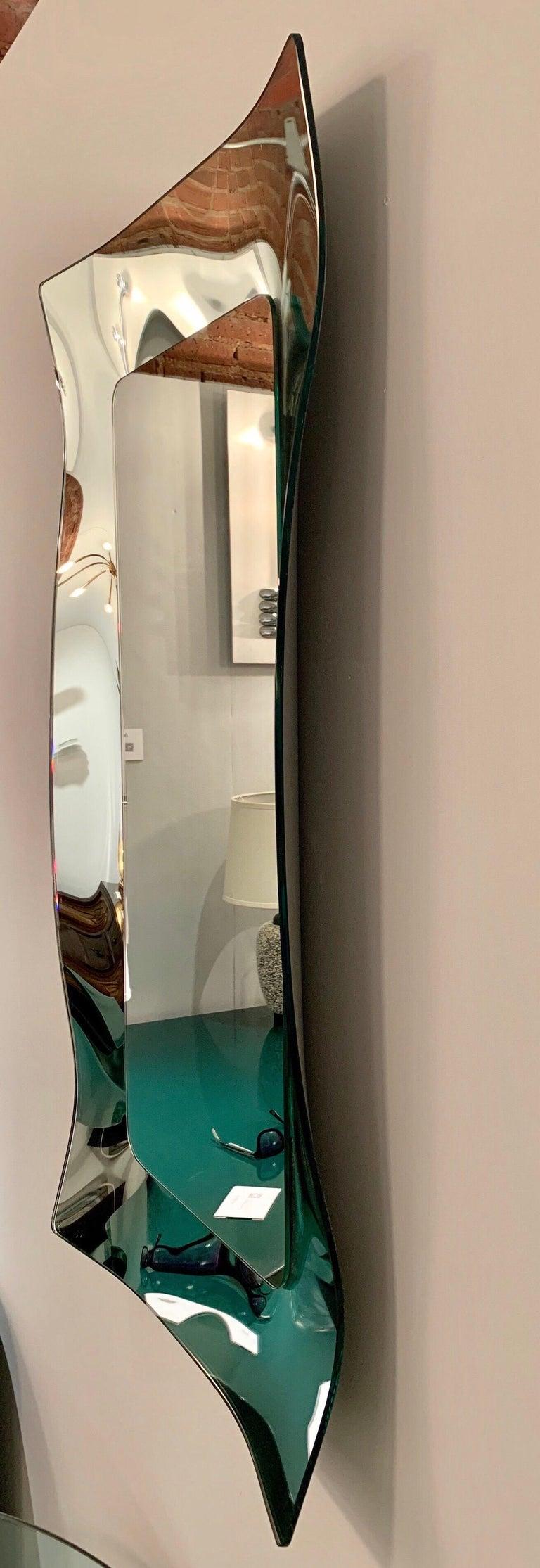 Late 20th Century 1970s Wavy Murano Glass Mirror For Sale