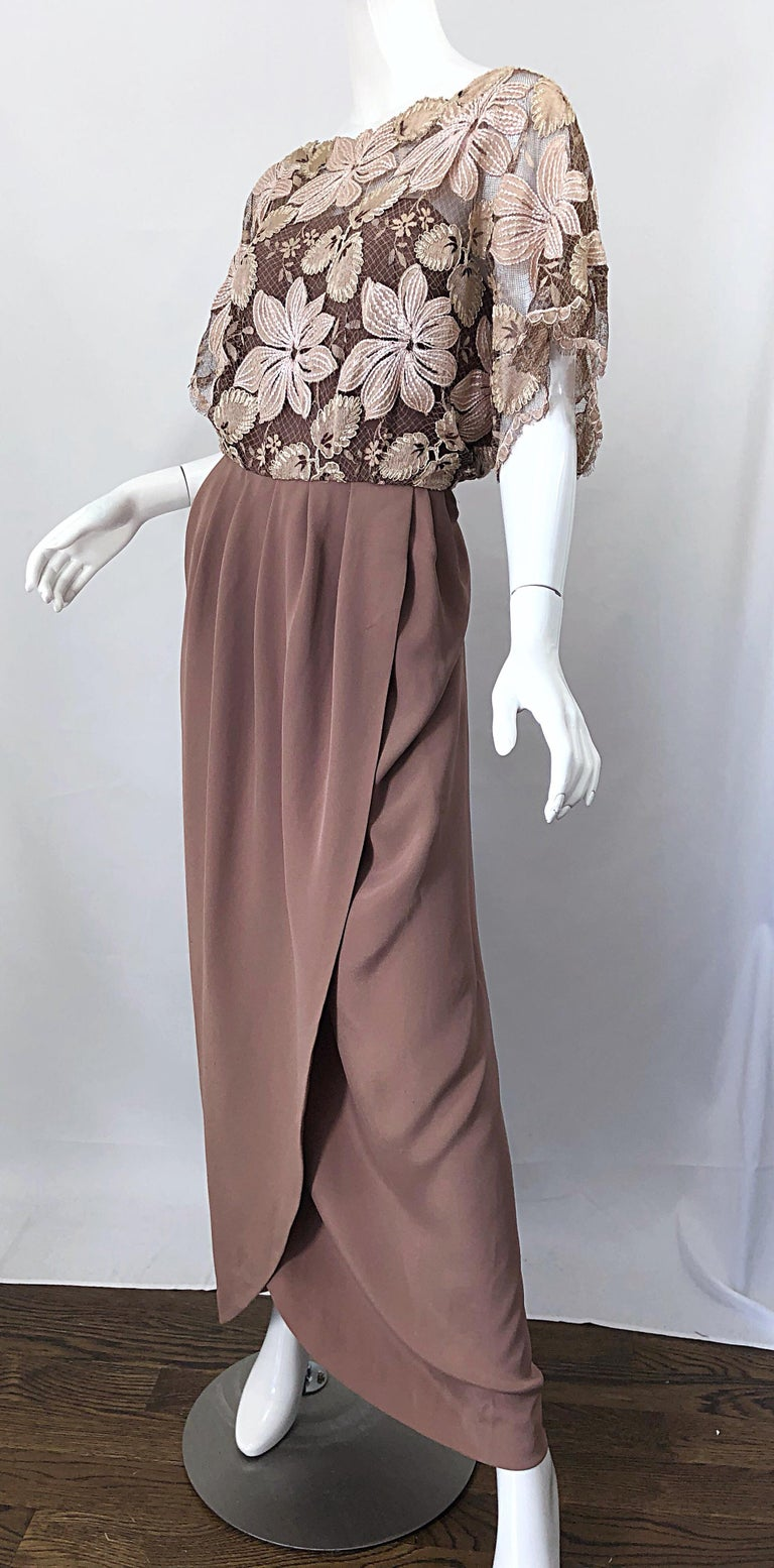 1970s Werle of Beverly Hills Demi Couture Taupe Lace Crochet Vintage 70s Gown For Sale 5