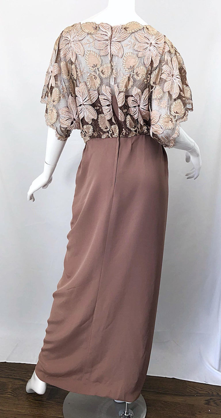 1970s Werle of Beverly Hills Demi Couture Taupe Lace Crochet Vintage 70s Gown For Sale 6