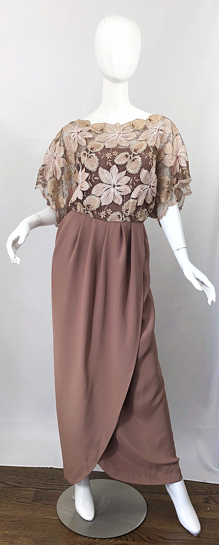 Brown 1970s Werle of Beverly Hills Demi Couture Taupe Lace Crochet Vintage 70s Gown For Sale