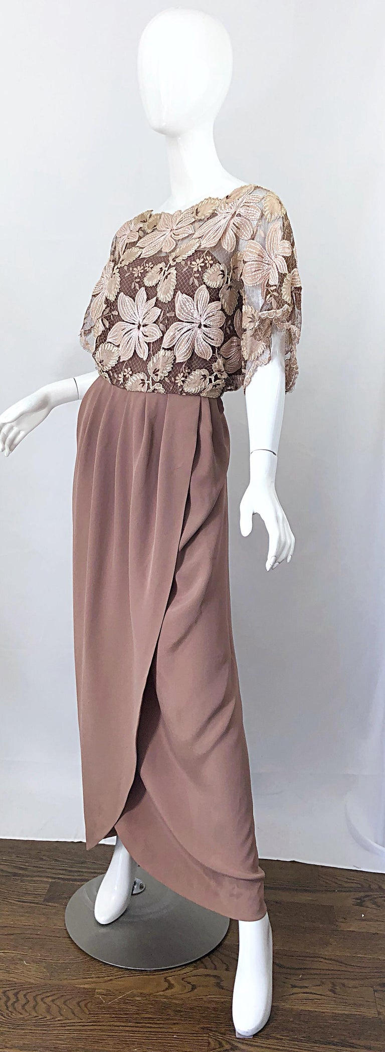 1970s Werle of Beverly Hills Demi Couture Taupe Lace Crochet Vintage 70s Gown For Sale 1