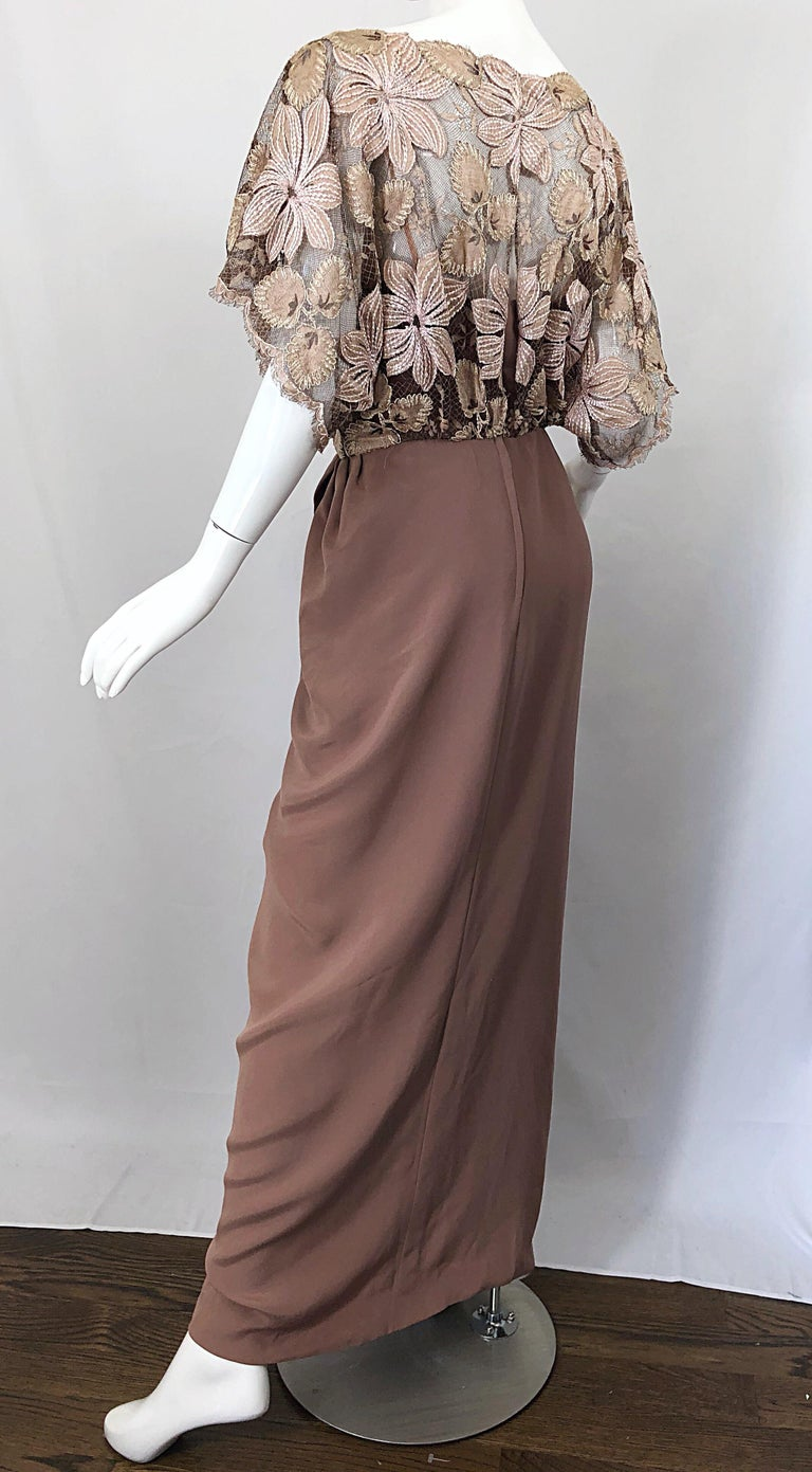 1970s Werle of Beverly Hills Demi Couture Taupe Lace Crochet Vintage 70s Gown For Sale 4