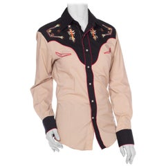 1970S Cotton Blend Western Shirt With Native American Embroidery