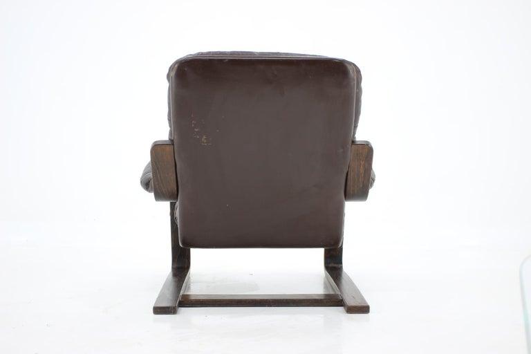 Norwegian 1970s Westnofa Bentwood Leather Armchair, Norway For Sale