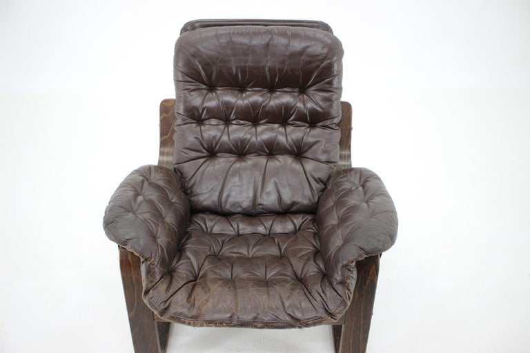 1970s Westnofa Bentwood Leather Armchair, Norway In Good Condition For Sale In Praha, CZ