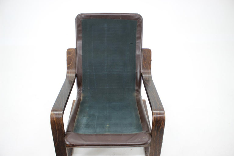 1970s Westnofa Bentwood Leather Armchair, Norway For Sale 1