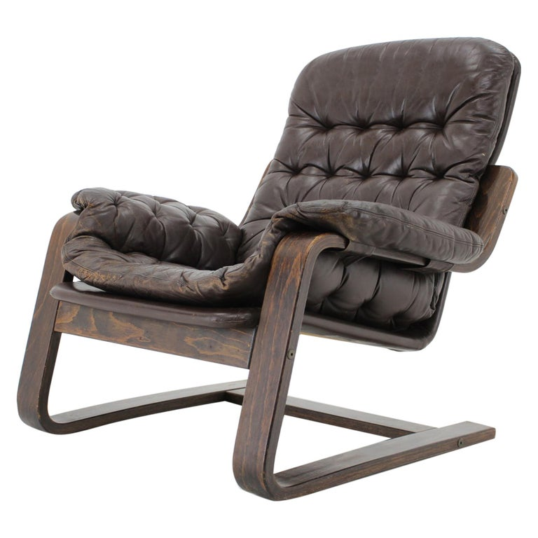 1970s Westnofa Bentwood Leather Armchair, Norway For Sale