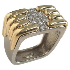 1970s White and Yellow Gold Art Deco Style Ring