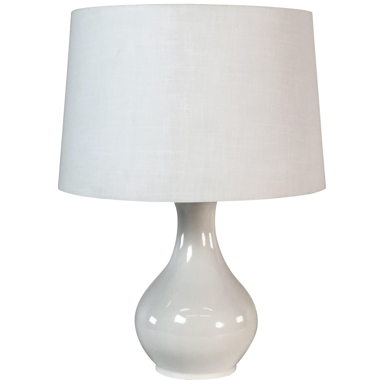 1970s White Ceramic Table Lamp