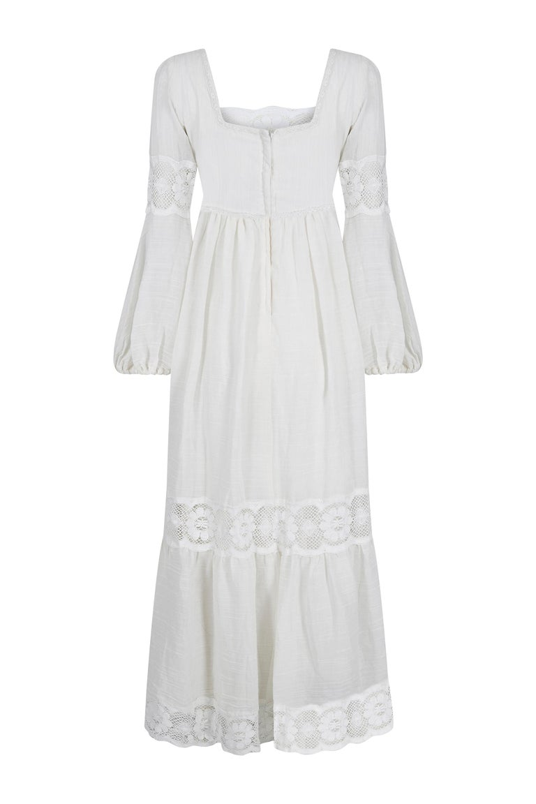 Gray 1970s White Cotton and Lace Mexican Boho Wedding Dress For Sale