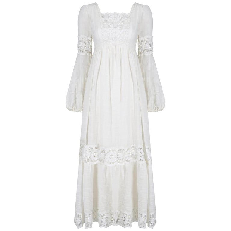 1970s White Cotton and Lace Mexican Boho Wedding Dress For Sale
