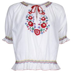 1970s White Cotton Embroidered Hungarian Blouse