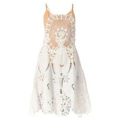 1970S White Cotton Lace Crochet Top Dress