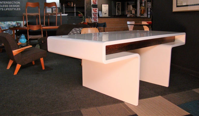 1970s White Fiberglass and Rosewood Trimmed Executive
