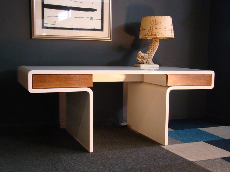American 1970s White Fiberglass and Rosewood Trimmed Executive