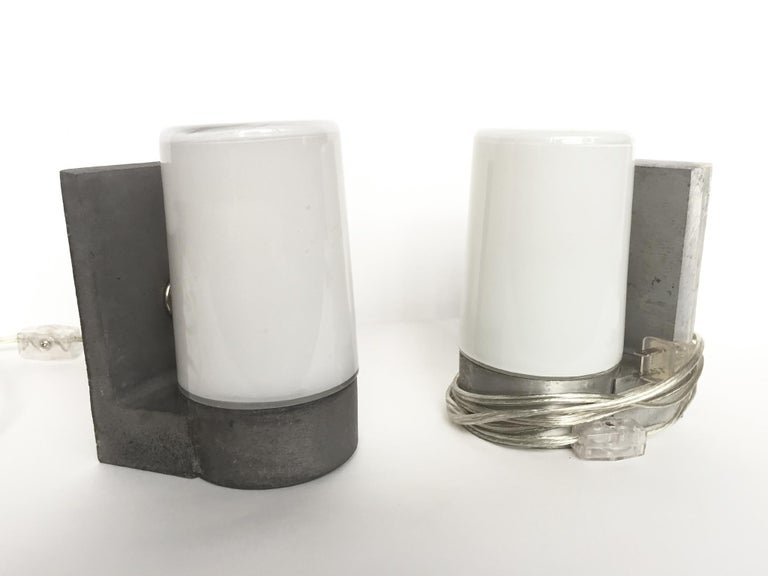 1970s White Glass and Aluminum Wall Sconces For Sale 4