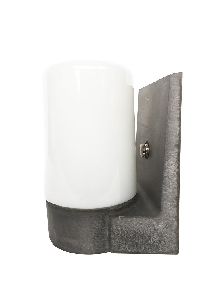 Industrial 1970s White Glass and Aluminum Wall Sconces For Sale