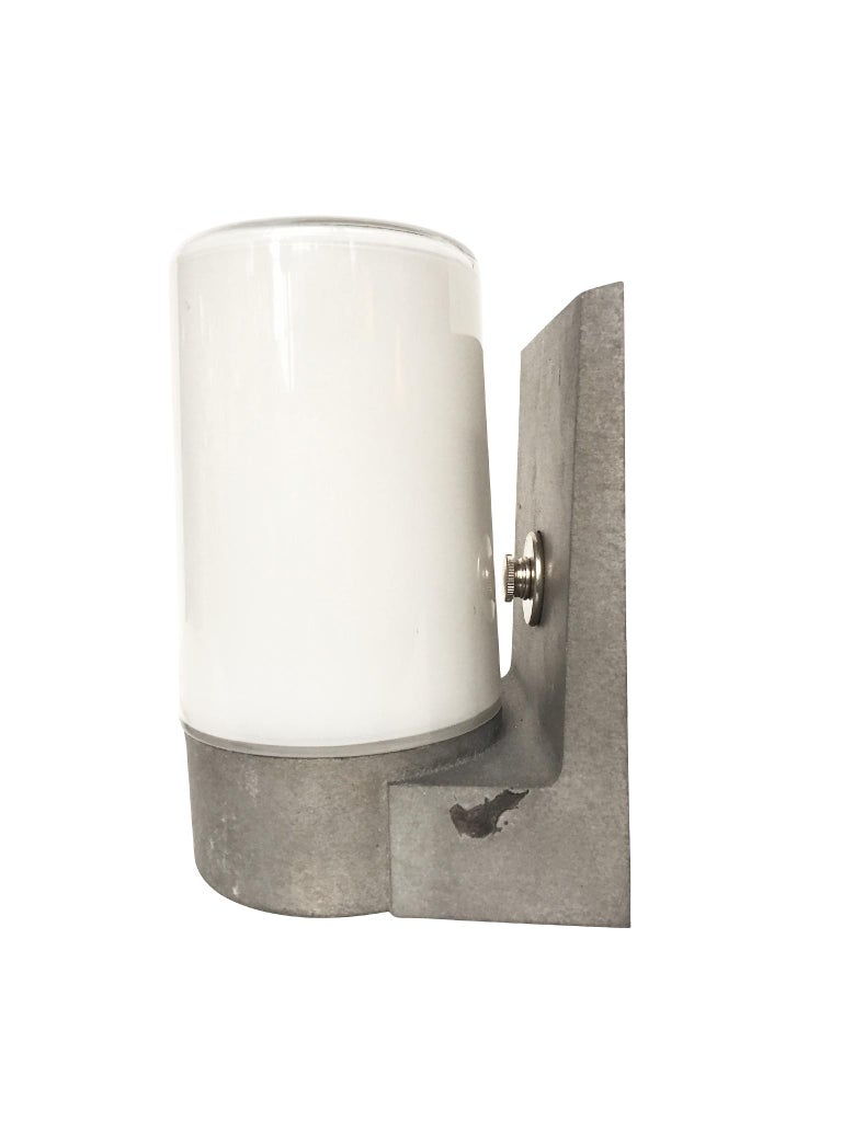 1970s White Glass and Aluminum Wall Sconces In Excellent Condition For Sale In New York, NY